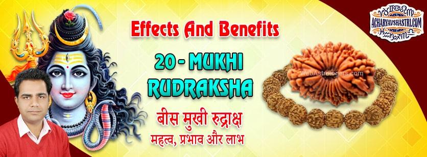 Strengths, Benefits and Importance of 20 Mukhi Rudraksha (Twenty Face Rudraksha) By Acharya V Shastri.